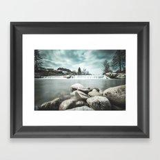 Waterfall on Sora river, Medvode Framed Art Print