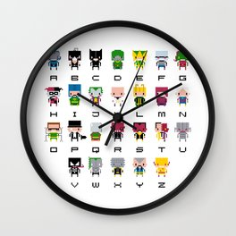 Pixel Supervillain Alphabet 2 Wall Clock