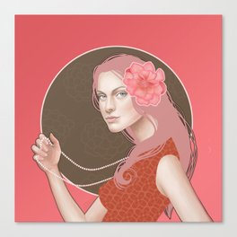 Girl Holding a Pearl Necklace Canvas Print