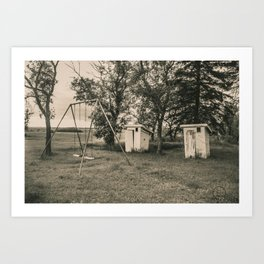Outhouses and Swingset at the Church, North Dakota 2 Art Print