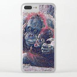 GlitzyAnimal_OrangUtan_001_by_JAMColors Clear iPhone Case