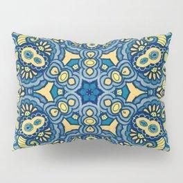 Blue Yellow original Art Pillow Sham