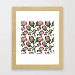 Lovely Pink Australian Native Floral Pattern - King Protea Framed Art Print