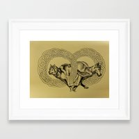 celtic Framed Art Prints featuring Celtic Wolves by Rachel Hoffman