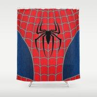 spider man Shower Curtains featuring Spider-Man by C.Rhodes Design