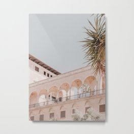Mediterranean Architecture House Blue Sky Metal Print