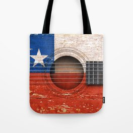 Old Vintage Acoustic Guitar with Chilean Flag Tote Bag