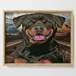 Rottweiler The Hobo Dog Serving Tray
