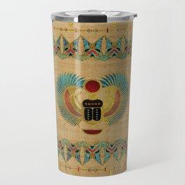 Egyptian Scarab  beetle  Ornament on papyrus Travel Mug