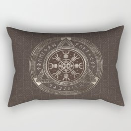 The Helm of Awe Brown Leather and gold Rectangular Pillow