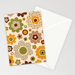 Retro 70s funky flowers brown, orange, green Stationery Cards