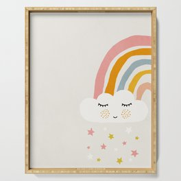 Rainbow, Abstract, Mid century modern kids wall art, Nursery room Serving Tray