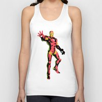 iron man Tank Tops featuring iron man  by mark ashkenazi