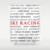 racing Shower Curtains featuring Ski Racing by BACK to THE ROOTS