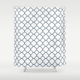 Dusky Blue Clover Quatrefoil Pattern Shower Curtain