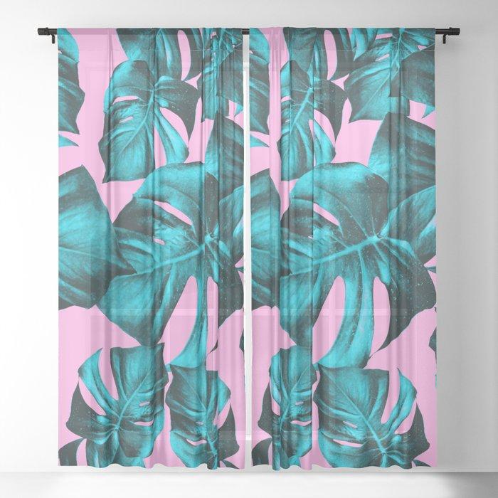 Monstera Leaves Summer Vibes Pattern #1 #tropical #decor #art #society6 Sheer Curtain