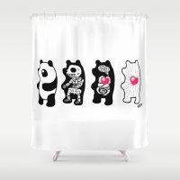 anatomy Shower Curtains featuring Panda Anatomy by Heiko Windisch
