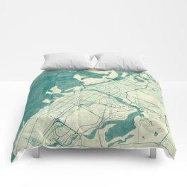 Dubai Map Blue Vintage Comforters