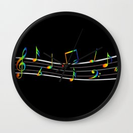 Rainbow Music Notes on Black Wall Clock
