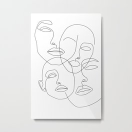 Messy Faces Metal Print