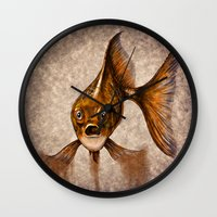 goldfish Wall Clocks featuring Goldfish by Werk of Art