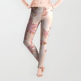 Starfish and Coral Pink Pastel Pattern Leggings