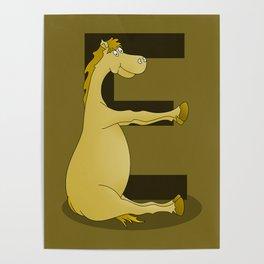 Pony Monogram Letter E Poster