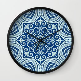 Blue and Gold  flowers pattern Wall Clock