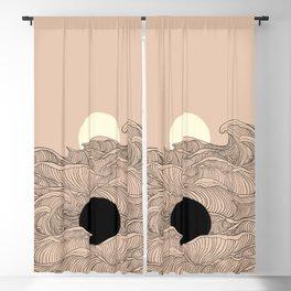 Abstract landscape yin yang moon & sun ocean wave  Blackout Curtain