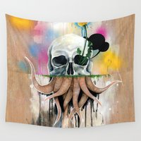 skull Wall Tapestries featuring Skull Roots by FAMOUS WHEN DEAD