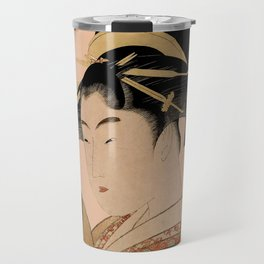 Vintage Japanese Ukiyo-e Woodblock Print Woman Portrait V Travel Mug