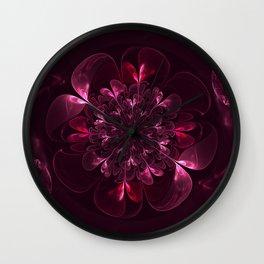 Flower In Bordo Wall Clock