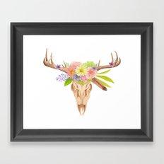 Deer Skull and Flowers Framed Art Print