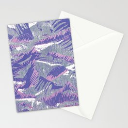 Lovely lino printing in pink, purple, white and grey Stationery Cards