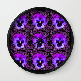 PURPLE PANSY FLOWERS ON BLACK COLOR Wall Clock