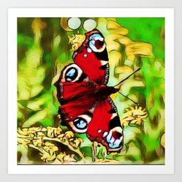 Peacock Butterfly Dream | Aglais io - Oil Painting Art Print
