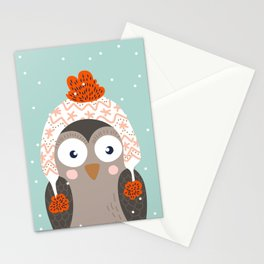 Owl Under Snow in the Christmas Time. Stationery Cards