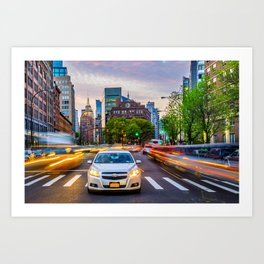 New York City Light Trails Art Print