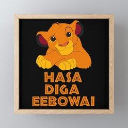 hasa diga baby lion Framed Mini Art Print