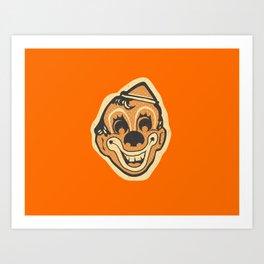 Retro Creepy Halloween Clown Face Mask Art Print
