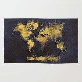 world map 65 yellow Rug