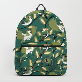 Golden-crowned Kinglets in a Pussy Willow (Greenery) Backpack