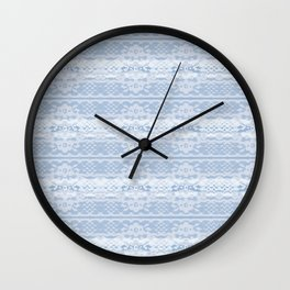 Lace Inspired Elegant Pattern - Blue and White Wall Clock