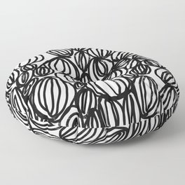 Loop black and white minimalist abstract painting mark making art print Floor Pillow