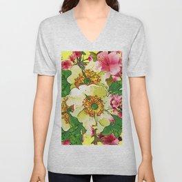 CONTEMPORARY PINK & CREAMY WHITE SPRING FLOWERS Unisex V-Neck