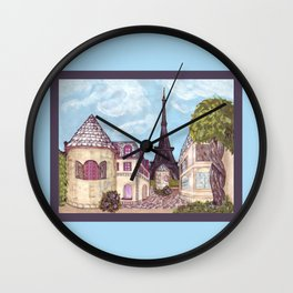 Paris Eiffel Tower inspired landscape painting by Kristie Hubler Wall Clock