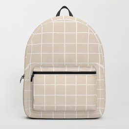 Almond - pink color - White Lines Grid Pattern Backpack