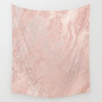 gold foil Wall Tapestries featuring Rose Gold Foil by Sweet Karalina