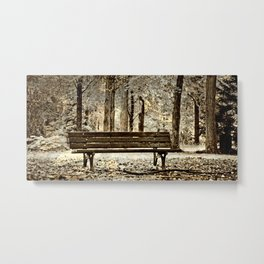 An empty bench in a park Metal Print