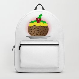Christmas Pudding With Custard And Holly Sprig Backpack